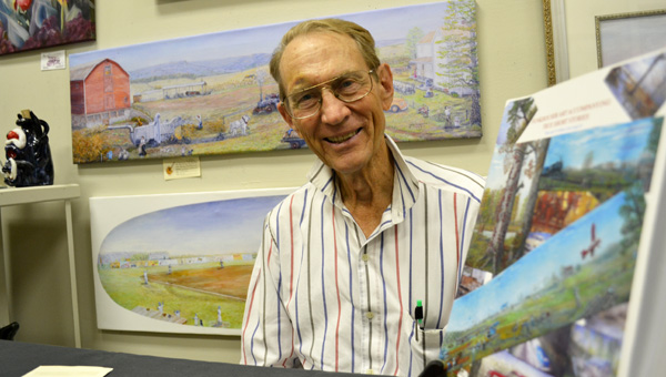 TRUE STORY: Each of artist Dewey Funkhouser's paintings is based on a memory.  MONA MOORE   DAILY NEWS